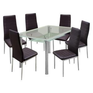 jedálenský stôl VENEZIA 3007 a 6 jedálenských stoličiek MILÁNO 3010